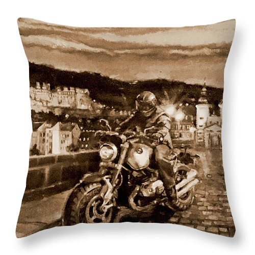 Sepia Painting Throw Pillow featuring the painting The Knight of Heidelberg-Sepia by BJ Lane