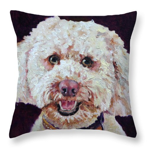 Dogs Throw Pillow featuring the painting The Labradoodle by Portraits By NC