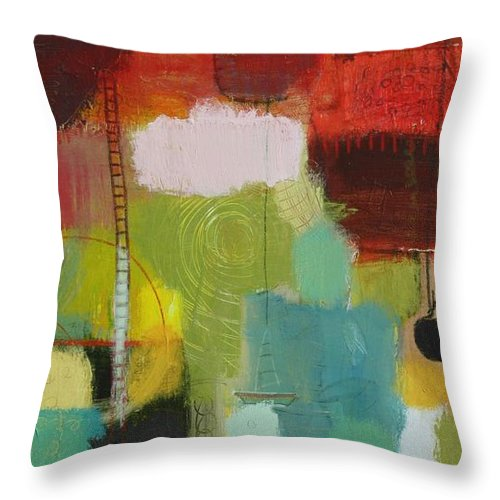 Abstract Throw Pillow featuring the painting The Ladder Of Life by Habib Ayat