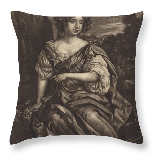 Throw Pillow featuring the drawing The Lady Essex Finch by Alexander Browne After Sir Peter Lely