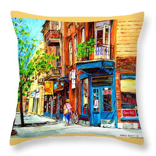 Wilenskys Throw Pillow featuring the painting The Lady In Pink by Carole Spandau