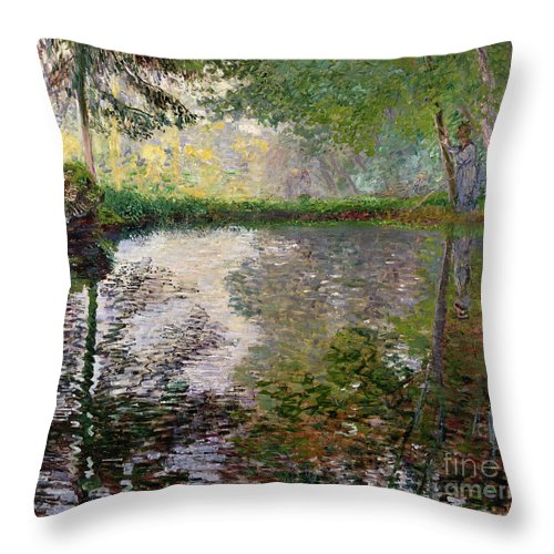The Lake At Montgeron By Claude Monet (1840-1926) Throw Pillow featuring the painting The Lake at Montgeron by Claude Monet