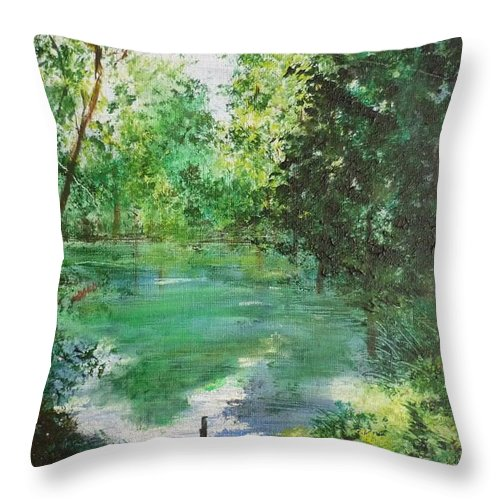 Lake Throw Pillow featuring the painting The Lake At Stansted Unfinished by Lizzy Forrester