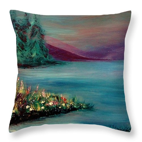 Landscape Throw Pillow featuring the painting The Lake by Robin Monroe