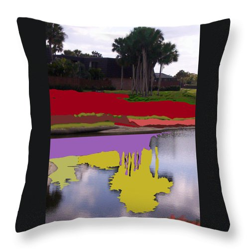 Nature Painted Photo Red Art Yellow Art Purple Art Throw Pillow featuring the mixed media The Lake by Suzanne Udell Levinger
