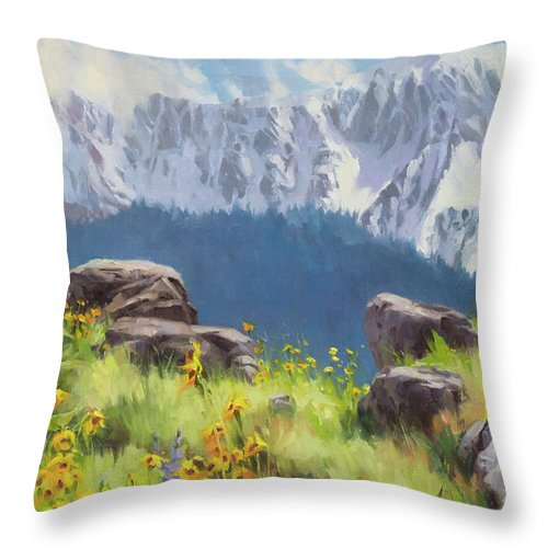 Northwest Throw Pillow featuring the painting The Land of Chief Joseph by Steve Henderson