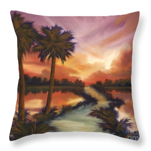 Skyscape Throw Pillow featuring the painting The Lane Ahead by James Christopher Hill