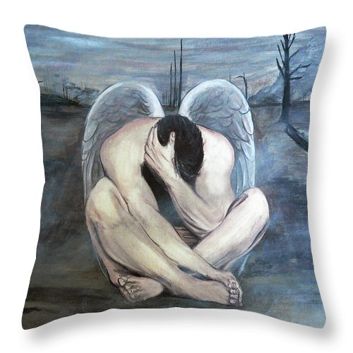 Acrylic Throw Pillow featuring the painting The Last Angel by Bobby Jones