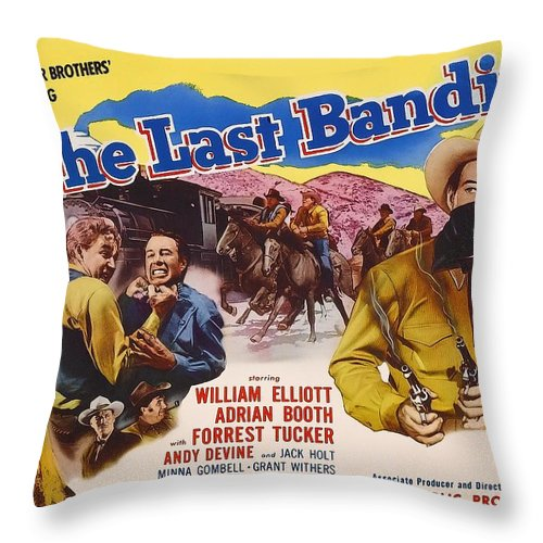 Movie Throw Pillow featuring the mixed media The Last Bandit 1949 by Mountain Dreams