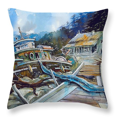 Boat Throw Pillow featuring the painting The Last Bastion..on the Beach by Ron Morrison