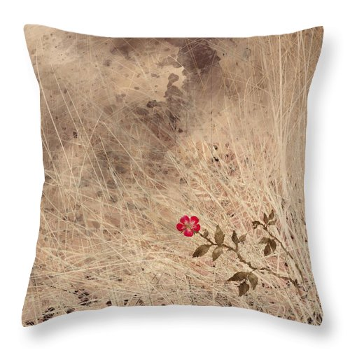 Abstract Throw Pillow featuring the digital art The Last Blossom by William Russell Nowicki