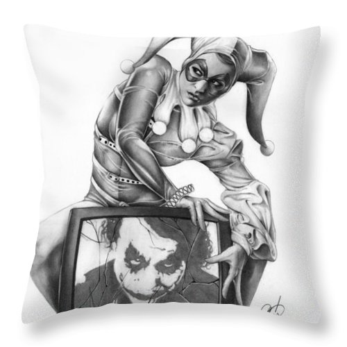 Ms Throw Pillow featuring the painting The Last Laugh by Pete Tapang
