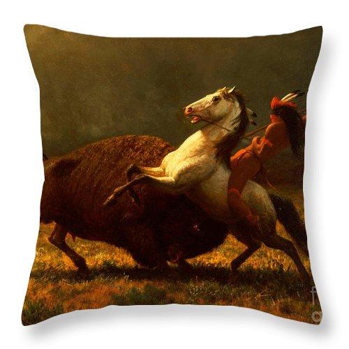 Albert Bierstadt Throw Pillow featuring the painting The Last of the Buffalo by Albert Bierstadt