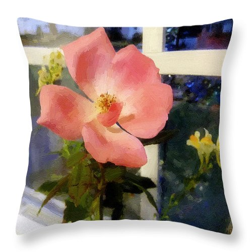 Rose Throw Pillow featuring the painting The Last Rose Of Summer by RC DeWinter