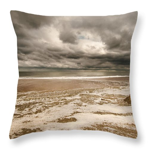 Beach Throw Pillow featuring the photograph The Last Sand Castle Of The Season by Jim Moore
