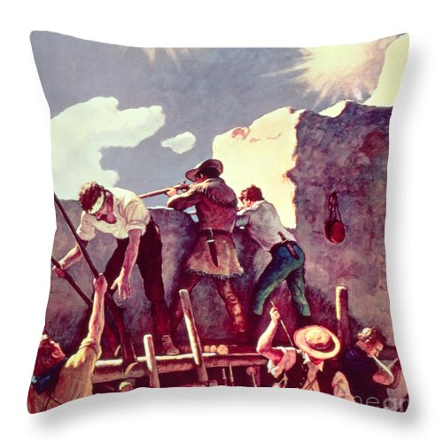 Alamo Throw Pillow featuring the painting The Last Stand At The Alamo by Newell Convers Wyeth