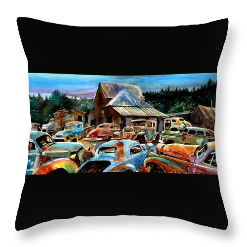 Old Cars Throw Pillow featuring the painting The Last Stand by Ron Morrison