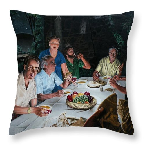 Last Supper Throw Pillow featuring the painting The Last Supper by Dave Martsolf