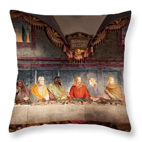 Supper Throw Pillow featuring the photograph The Last Supper. Fresco In Church Santa Maria Del Carmine, Florence by Svetlana Batalina