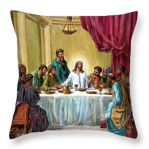 Jesus Throw Pillow featuring the painting The Last Supper by John Lautermilch