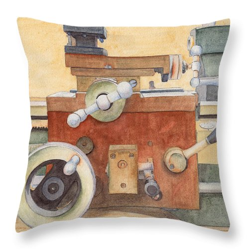 Lathe Throw Pillow featuring the painting The Lathe by Ken Powers