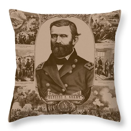 General Grant Throw Pillow featuring the mixed media The Leader And His Battles - General Grant by War Is Hell Store