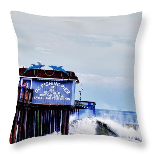 Hurricane Earl Ocean City Throw Pillow featuring the photograph The Leaning Pier by Kelly Reber