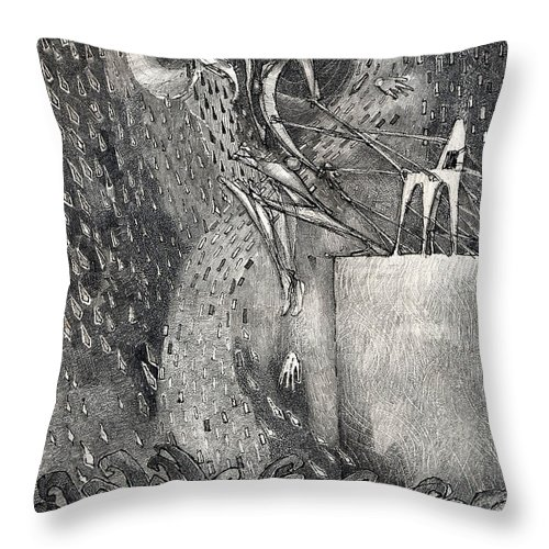 Leap Throw Pillow featuring the drawing The Leap by Juel Grant
