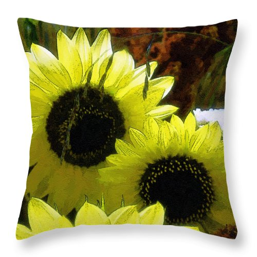 Sunflowers Throw Pillow featuring the digital art The Lemon Sisters by RC DeWinter