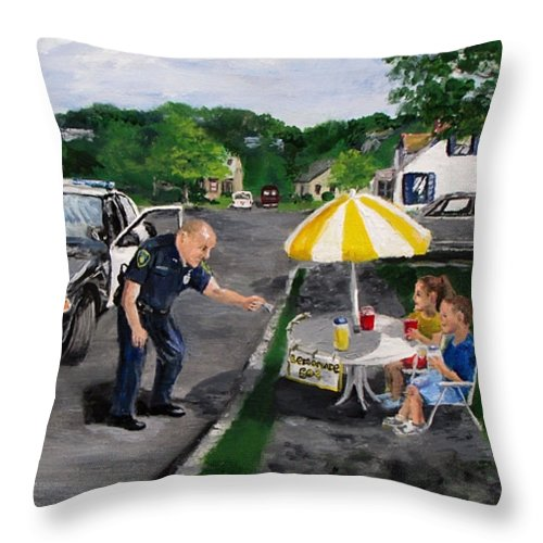 Police Throw Pillow featuring the painting The Lemonade Stand by Jack Skinner