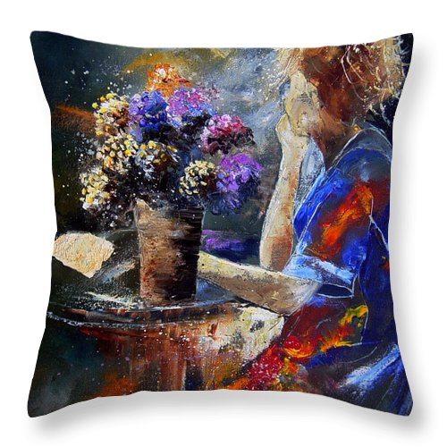 Girl Nude Throw Pillow featuring the painting The Letter by Pol Ledent