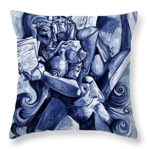Surrealism Throw Pillow featuring the painting The Letters by Darwin Leon