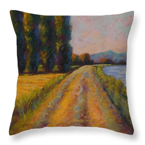 Pastel Throw Pillow featuring the painting The Levee by Marion Rose