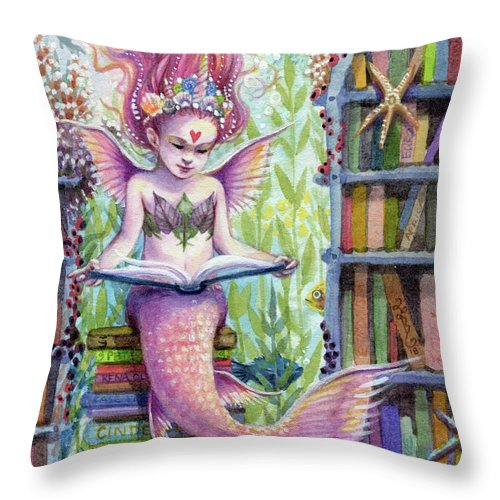 Mermaid Throw Pillow featuring the painting The Library by Sara Burrier
