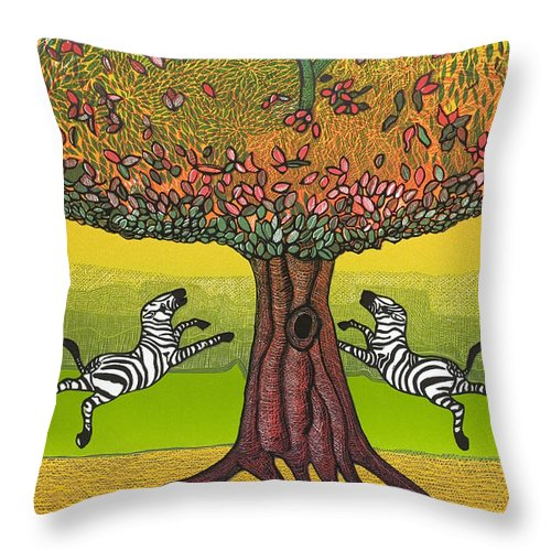 Landscape Throw Pillow featuring the mixed media The Life-giving Tree. by Jarle Rosseland