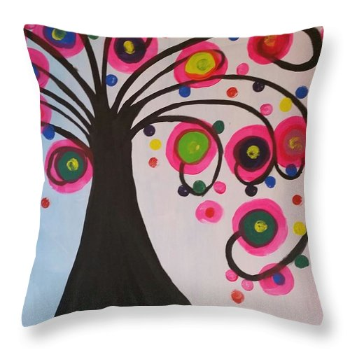 Tree Throw Pillow featuring the painting The Life Of Tree by Janine Bartram