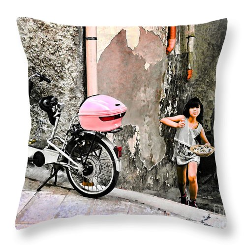Vieste Throw Pillow featuring the digital art The Life.vieste.italy by Jennie Breeze