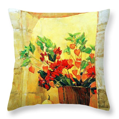 Still Life Throw Pillow featuring the painting The Light by Iliyan Bozhanov