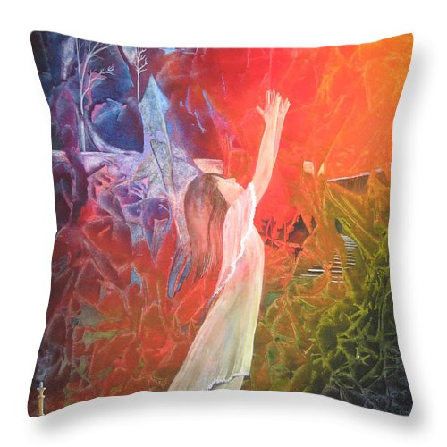 Cover Art Throw Pillow featuring the painting The Light by Jackie Mueller-Jones