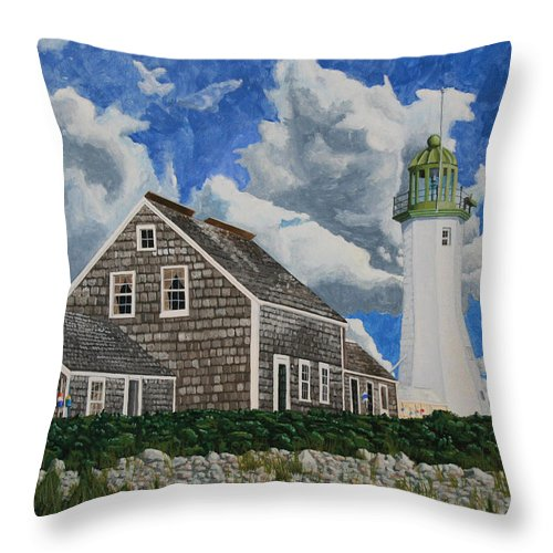 Lighthouse Throw Pillow featuring the painting The Light Keeper's House by Dominic White