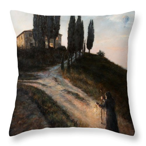 Tree Throw Pillow featuring the painting The Light Of A New Dawn by Darko Topalski