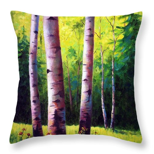 Aspen Throw Pillow featuring the painting The Light Of Spring by David G Paul