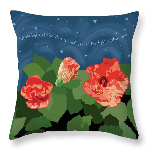 Romantic Throw Pillow featuring the digital art The Light Of The Stars by Susan Spangler