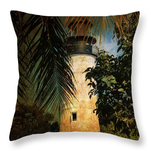 Lighthouse Throw Pillow featuring the photograph The Lighthouse In Key West by Susanne Van Hulst