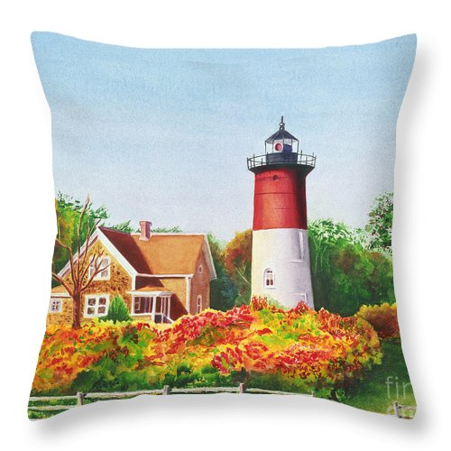 Lighthouse Throw Pillow featuring the painting The Lighthouse by Karen Fleschler