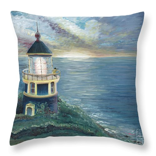 Lighthouse Throw Pillow featuring the painting The Lighthouse by Nadine Rippelmeyer