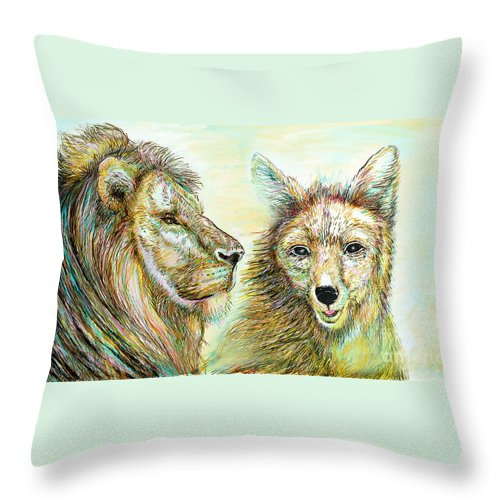 Lion Throw Pillow featuring the painting The Lion And The Fox 3 - To Face How Real Of Faith by Sukalya Chearanantana