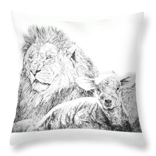Lion Throw Pillow featuring the drawing The Lion And The Lamb by Bryan Bustard