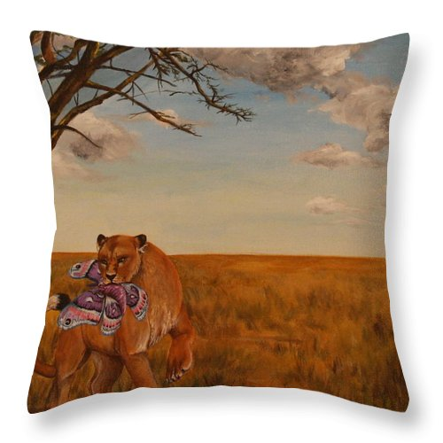 Lion Throw Pillow featuring the painting The Lion And The Moth by Michelle Miron-Rebbe