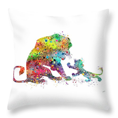 Watercolor Print Throw Pillow featuring the digital art The Lion King Mufasa And Simba Watercolor Art Print by Svetla Tancheva